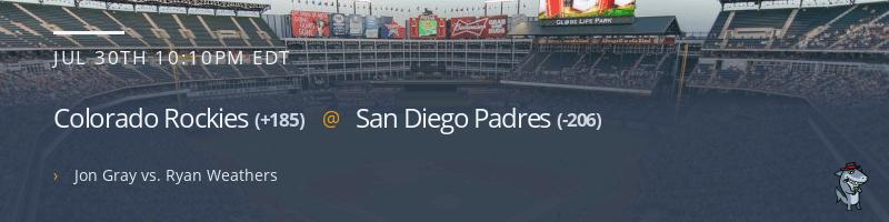 Colorado Rockies @ San Diego Padres - July 30, 2021